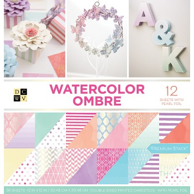 """DCWV Double-Sided Cardstock Stack 12""""X12"""" 36/Pkg-Watercolor Ombre, 18 Designs/2 Each"""