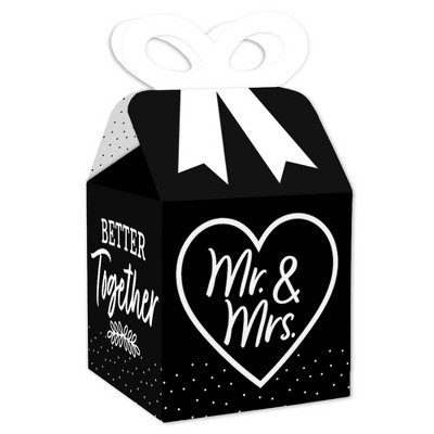Big Dot of Happiness Mr. and Mrs. - Square Favor Gift Boxes - Black and White Wedding or Bridal Shower Bow Boxes - Set of 12