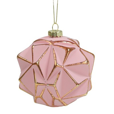 Northlight Pink and Gold Round Geometric Glass Christmas Ornament 4""