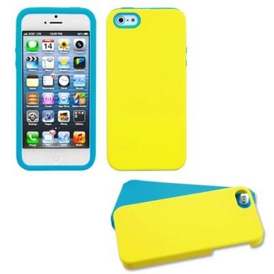 MYBAT For Apple iPhone 5/5S/SE Yellow Blue Fusion Aluminum Silicone Hybrid Case