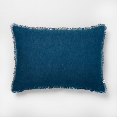 "14"" x 20"" Raw Edge Cross Dyed Throw Pillow Navy - Hearth & Hand™ with Magnolia"