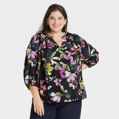 Women's Plus Size 3/4 Sleeve Popover Blouse - Ava & Viv™