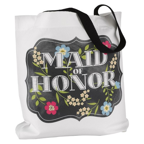 Chalkboard Floral Tote Bag - Maid of Honor - image 1 of 1