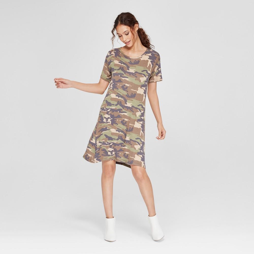 Women's Camo Print T-Shirt Short Sleeve Dress - Alison Andrews Green XL