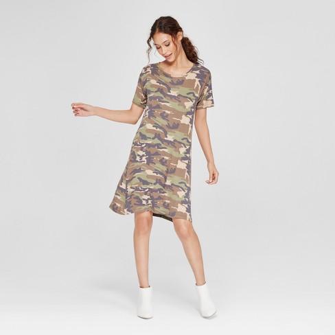 4c4119dc02a7d Women's Camo Print Short Sleeve T-Shirt Dress - Alison Andrews Green ...