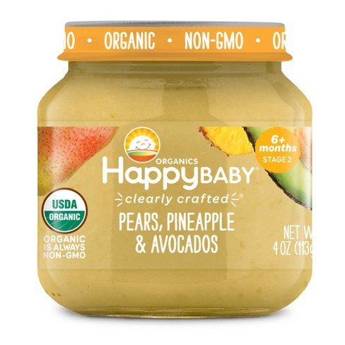 HappyBaby Clearly Crafted Pears Pineapples & Avocados Baby Food Jar - 4oz - image 1 of 2
