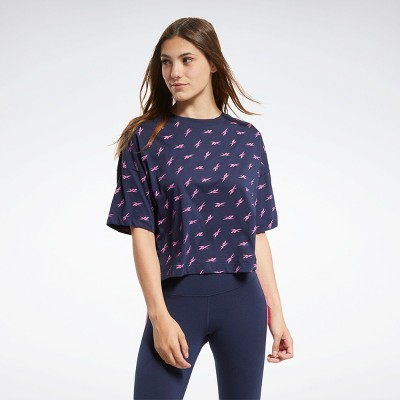 Reebok Allover Vector Tee Womens Athletic T-Shirts