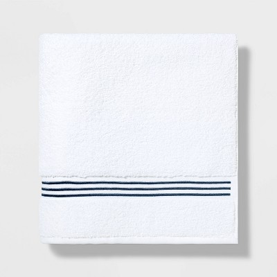 Spa Bath Sheet Dark Blue Stripe - Threshold Signature™