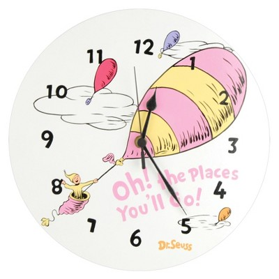 Dr. Seuss Oh the Places Wall Clock Pink - Trend Lab®