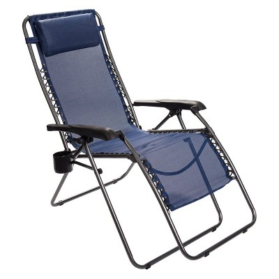 Timber Ridge FC-630-68080 Zero Gravity Locking Outdoor Patio Sun Lounger Recliner Lounge Chair with Cupholder, Blue