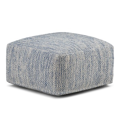 Terri Square Pouf Patterned Denim Melange Cotton - Wyndenhall