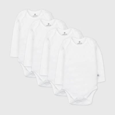 Honest Baby Baby 4pk Organic Cotton Long Sleeve Bodysuit - White 3M