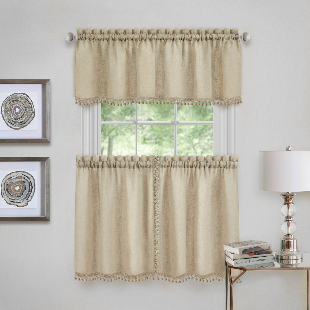 """Image of 24""""x58"""" Wallace Kitchen Window Curtain Tier Pair and Valance Set Linen - Achim"""
