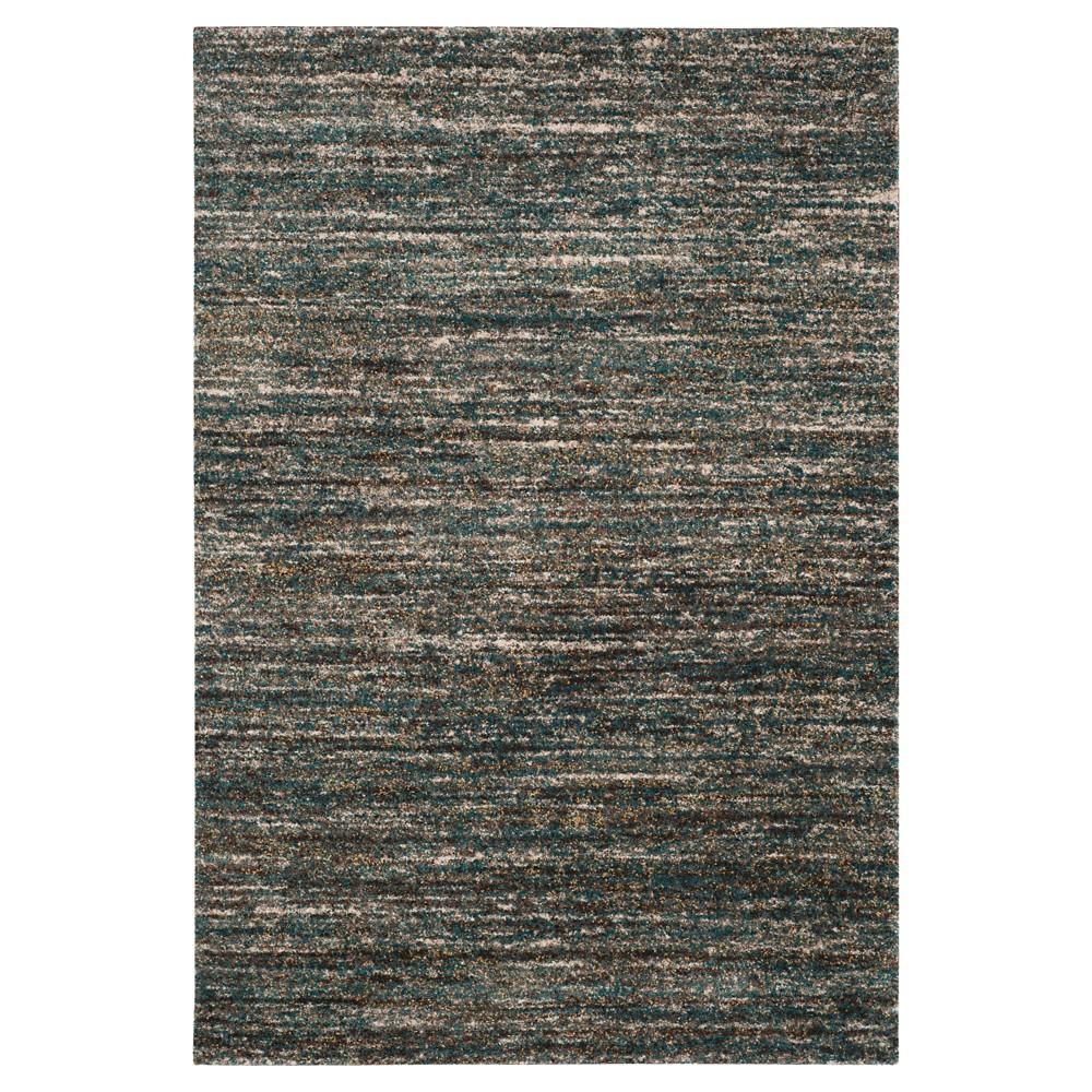 Ivory/Turquoise Abstract Shag/Flokati Loomed Area Rug - (4'X6') - Safavieh
