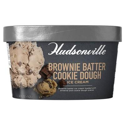 Hudsonville Creamery Brownie Batter Cookie Dough Ice Cream - 48oz