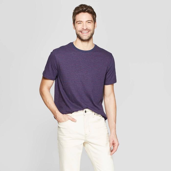 Men's Pinstripe Standard Fit Short Sleeve Novelty T-Shirt - Goodfellow & Co™ - image 1 of 3