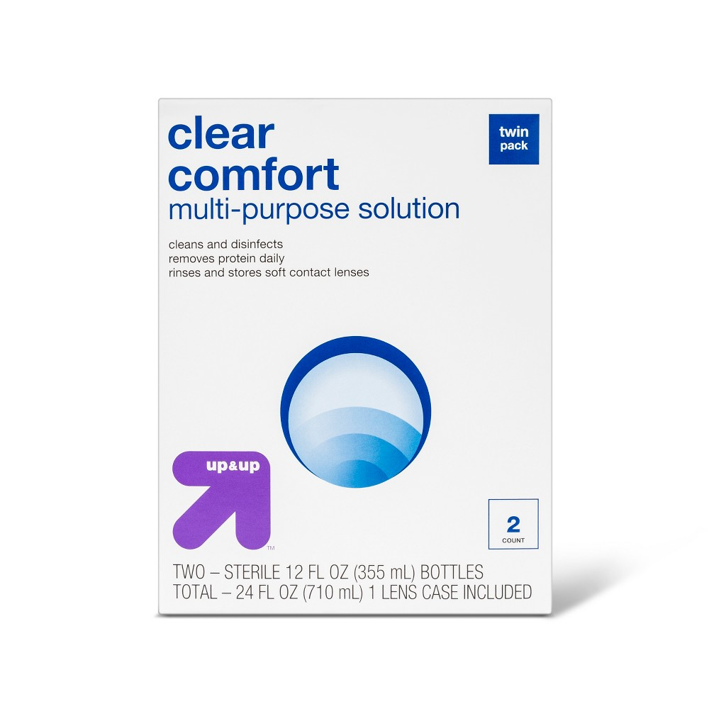 Clear Comfort Multipurpose Contact Solution - 2ct ( 12 fl oz each) - Up&Up Maintain clean, comfortable and disinfected contact lenses easily with Multipurpose Solution - UpandUp. This economical pack features 2 bottles of sterile saline solution and works dynamically, cleaning lenses and removing protein while they are being stored. Size: 24 fl oz. Age Group: Adult.