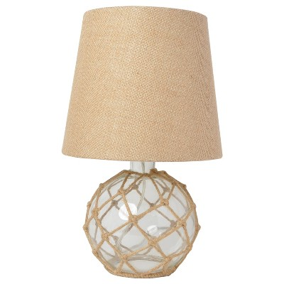 Buoy Rope Nautical Netted Coastal Ocean Sea Glass Table Lamp Clear - Elegant Designs