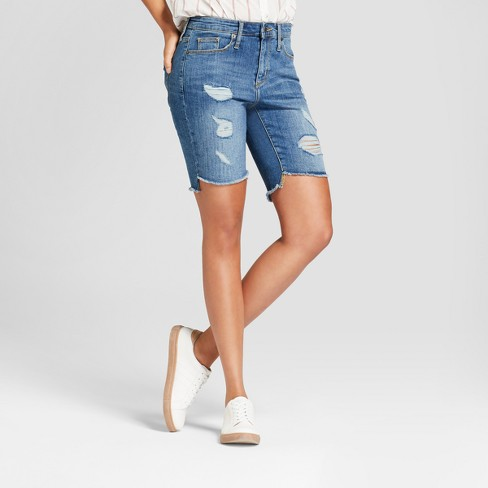 f4ac1b8176b Women s High-Rise Destructed Bermuda Jean Shorts - Universal Thread™ Medium  Wash