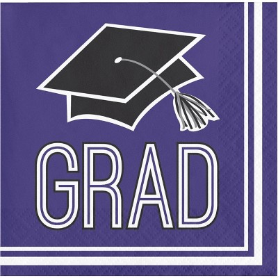 108ct Graduation School Spirit Beverage Napkins Purple