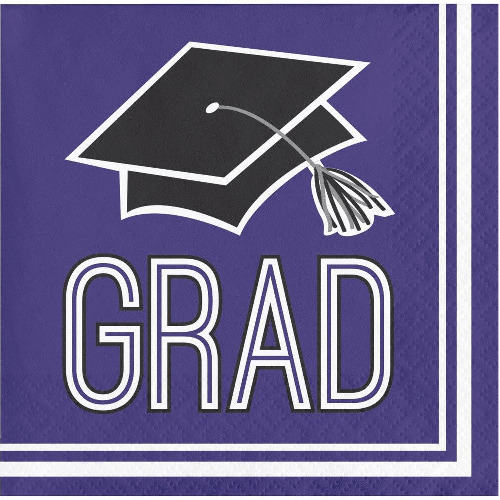Image of 108ct Graduation School Spirit Beverage Napkins Purple