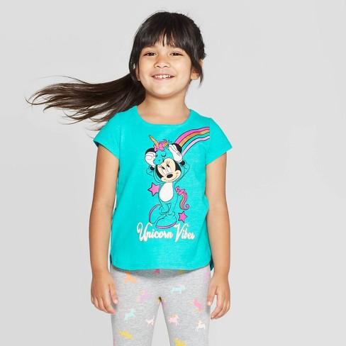 Disney Girls Minnie Mouse T-Shirt Unicorn