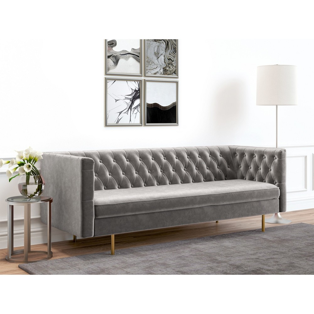 Image of Belinda Tufted Velvet Sofa Platinum - AF Lifestlye, White