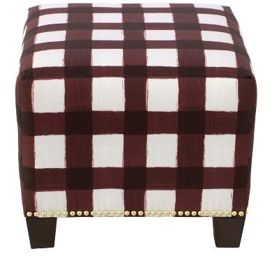 Square Nail Button Ottoman - Skyline Furniture