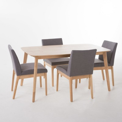 Kwame 60  Piece Dining Set Natural Oak Brown/Dark Gray - Christopher Knight Home