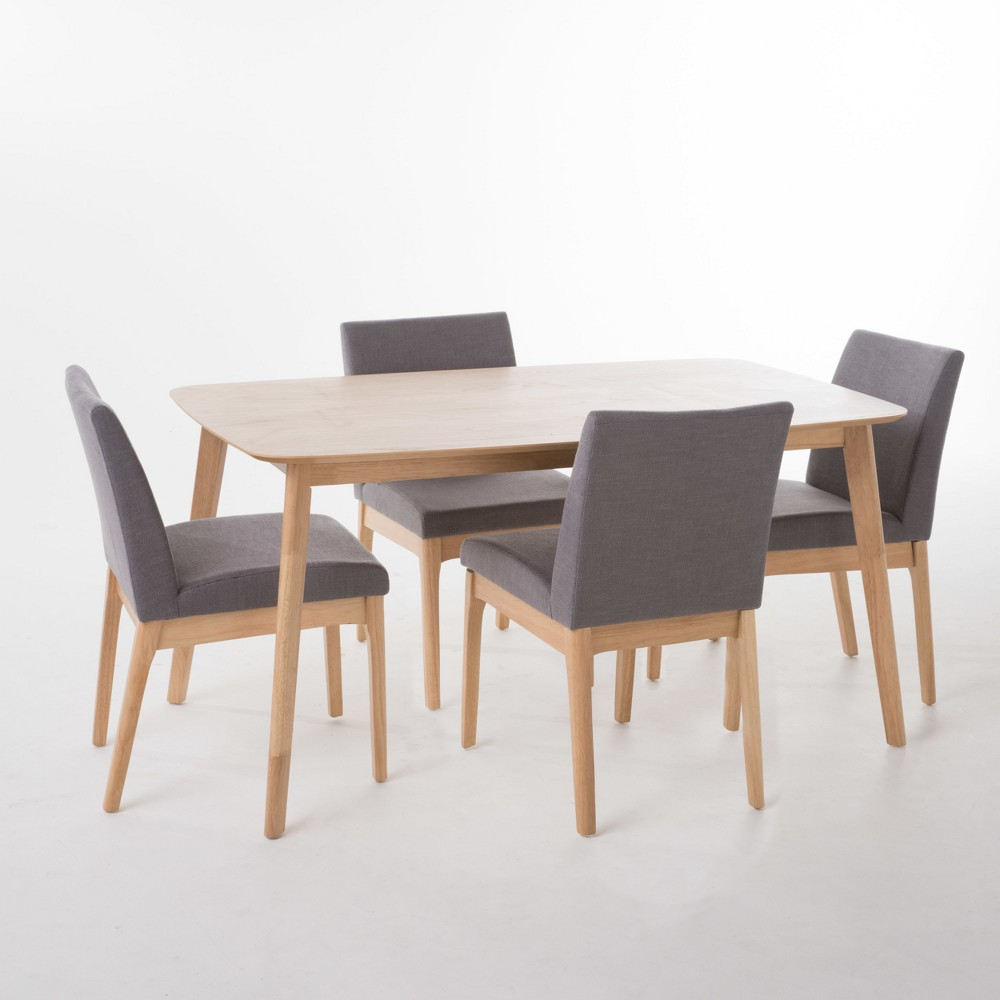 Kwame 60 Piece Dining Set Natural Oak Brown/Dark Gray - Christopher Knight Home, Dark Gray/Brown