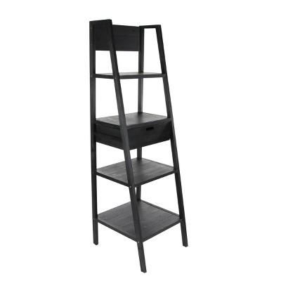 "70"" Storage Shelf with Ladder Frame Black - Olivia & May"