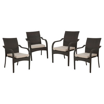 San Pico 4pk Wicker Stacking Chairs - Brown - Christopher Knight Home