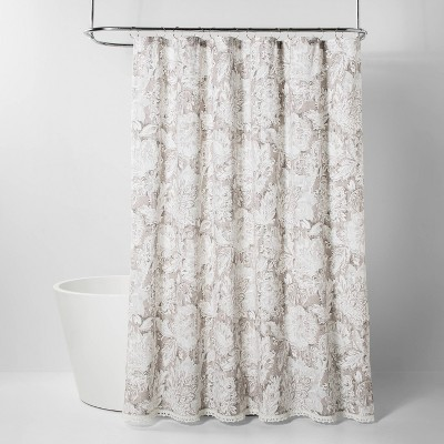 Jacobian Floral Print With Lace Trim Shower Curtain Gray - Threshold™