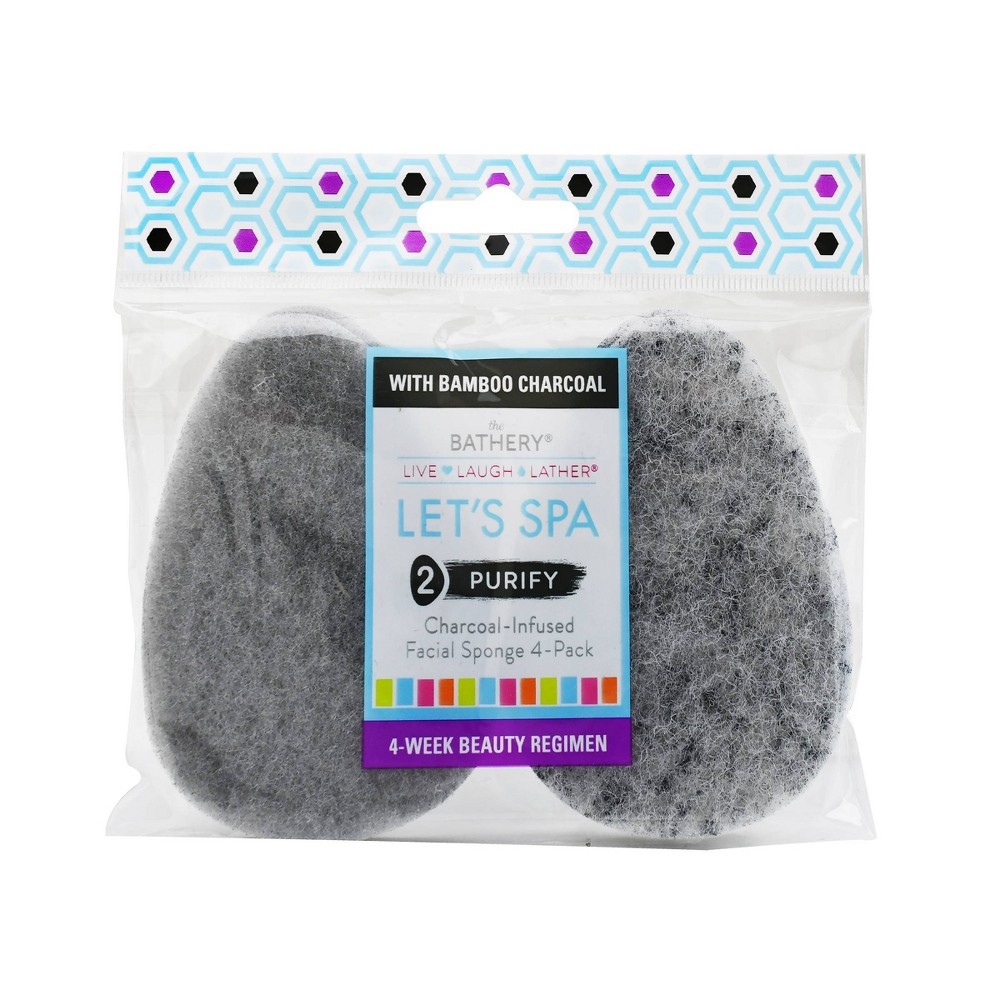 Image of The Bathery Charcoal Infused Facial Sponge - 4ct