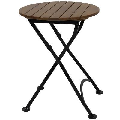 "Sunnydaze Indoor/Outdoor European Chestnut Wood Folding Round Patio Bistro Dining Table - 24"" - Brown"