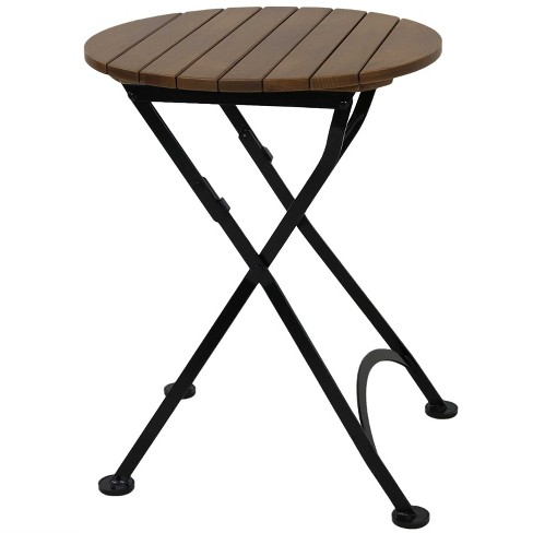 Sunnydaze Indoor Outdoor European, Outdoor Foldable Round Dining Table