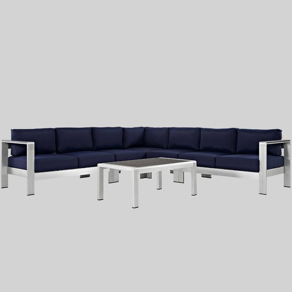 Shore 6pc Outdoor Patio Aluminum Sectional Sofa Set - Navy (Blue) - Modway