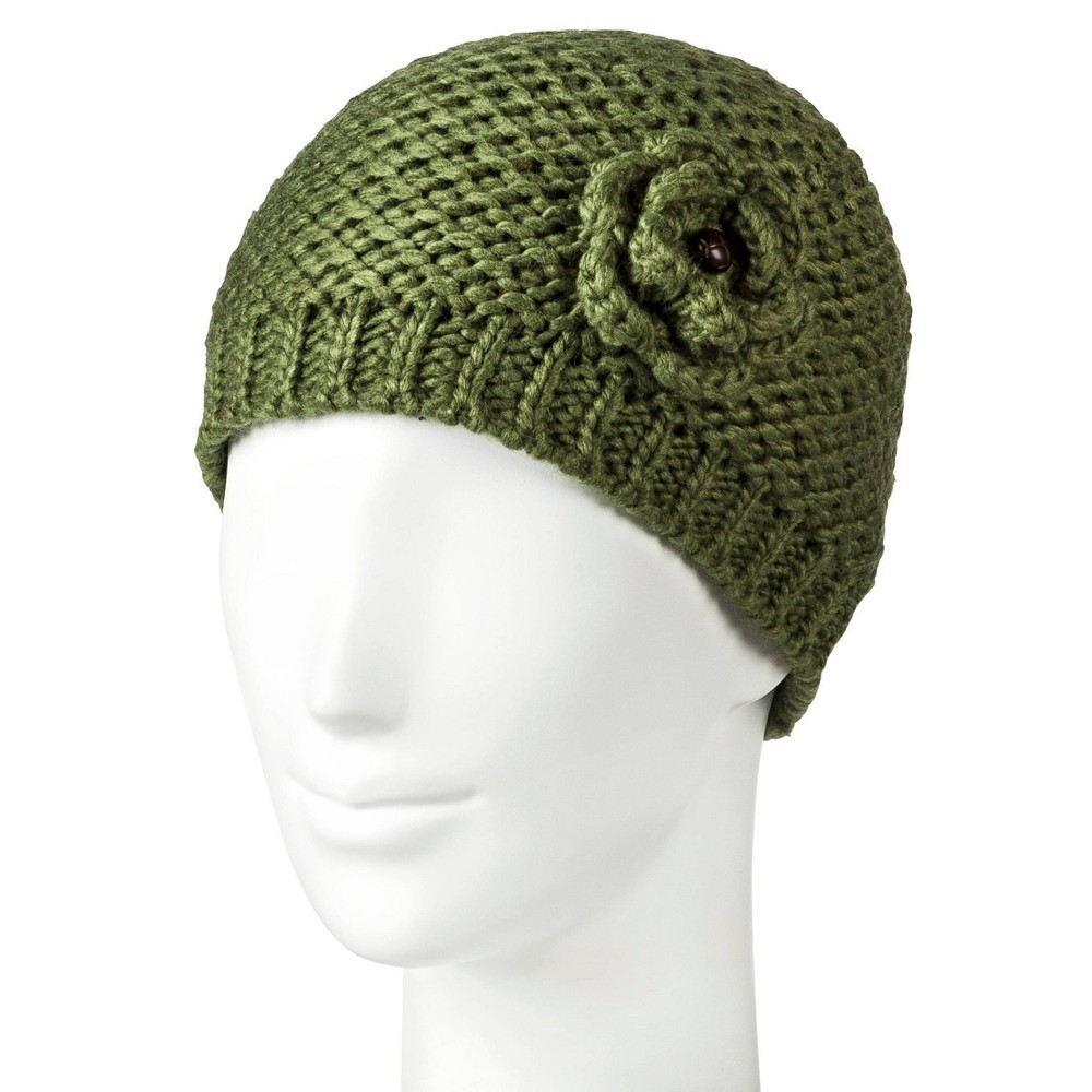 Women's Flower Detail Beanies - Moonshadow, Size: Small, Green was $17.99 now $8.98 (50.0% off)