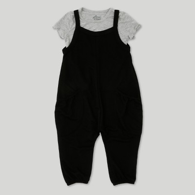 Toddler Girls' Afton Street French Terry Overall Set - Black/White 4T