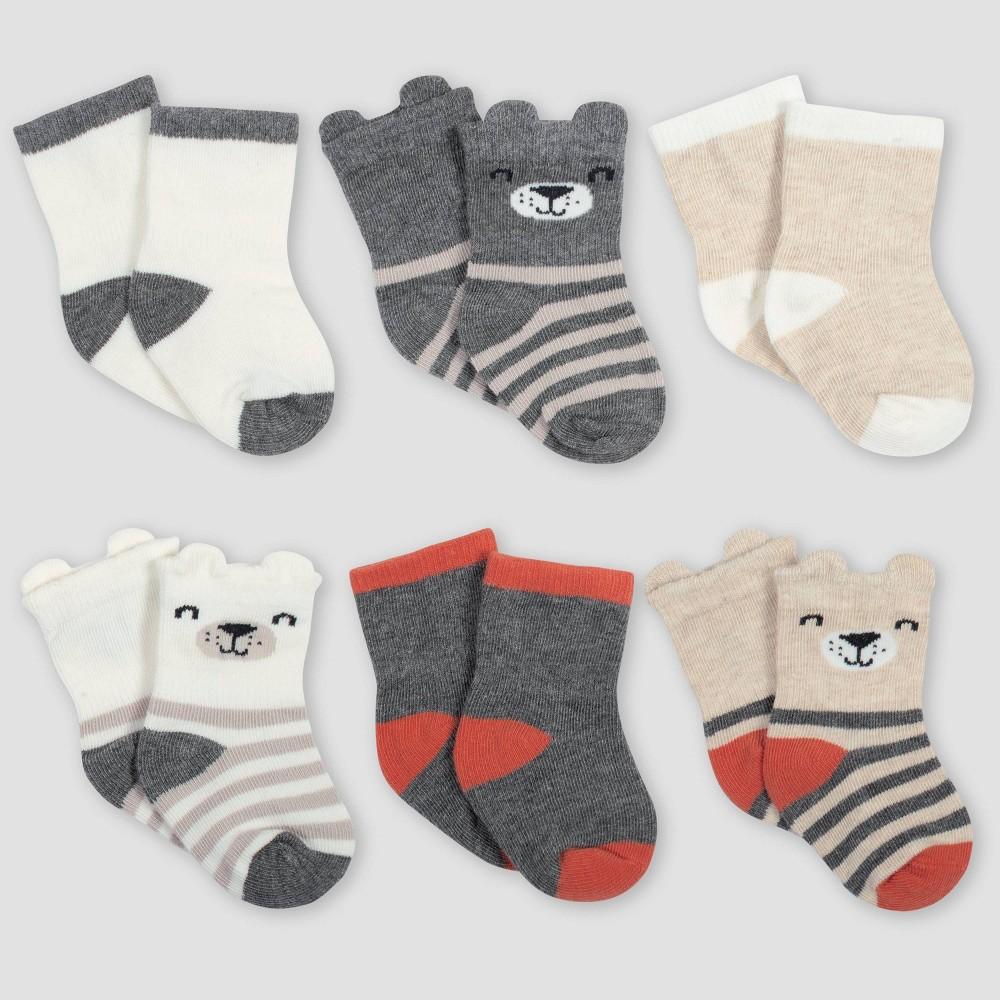 Image of Gerber Baby Boys' 6pk Bear Wiggle Proof Crew Socks - Gray/Light Brown 0-6M, Boy's, Size: Small