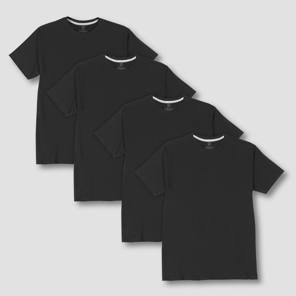 Hanes Premium Men's 4pk Slim Fit Crew Neck T-Shirt - Black S