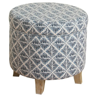 Cole Classics Round Storage Ottoman Flared Wood Leg - HomePop