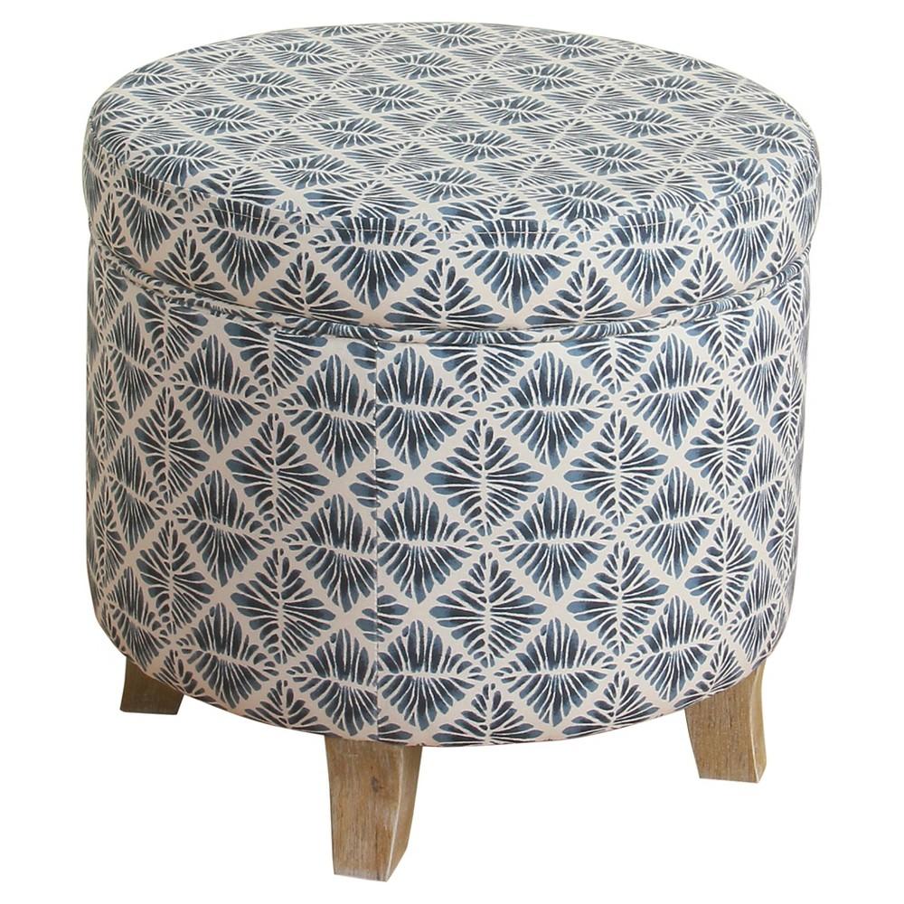 Image of Cole Classics Round Storage Ottoman Flared Wood Leg - Blue, White - HomePop