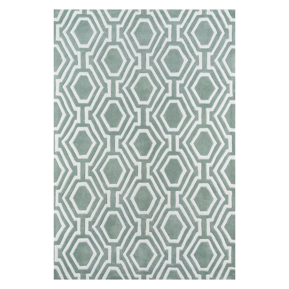 5'X7'6 Geometric Tufted Area Rug Sage (Green) - Momeni