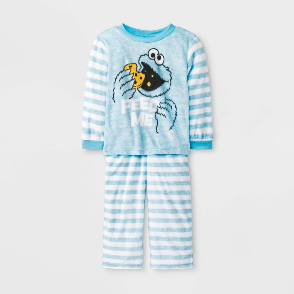 Image of Baby Boys' 2pc Sesame Street Cookie Monster Fleece Pajama Set - Blue 18M, Boy's
