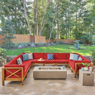 Brava 12pc Acacia Sectional Sofa Set with Fire Pit - Teak/Red/Light Gray - Christopher Knight Home