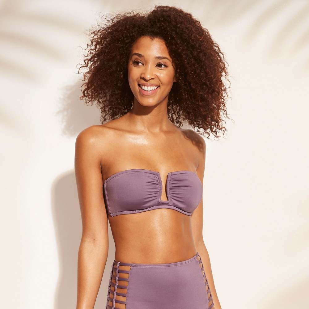 Women's Shirred U Wire Bandeau Bikini Top - Shade & Shore Purple Steel XS