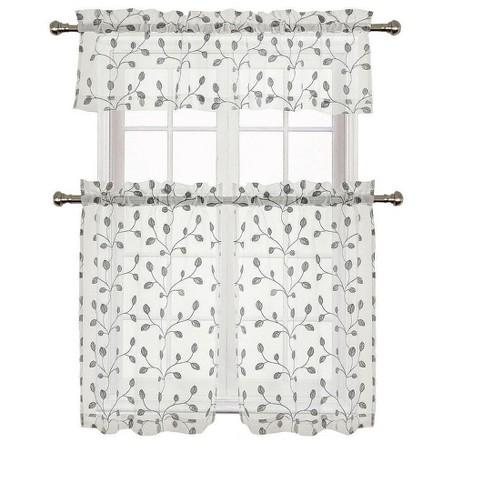GoodGram Adler Metallic Embroidered Leaves Sheer Kitchen Curtain Set - image 1 of 2