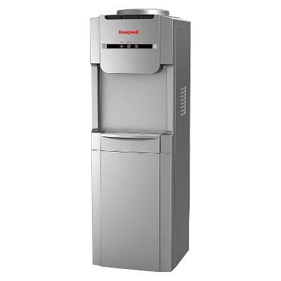 """Honeywell 38"""" Top Loading Antibacterial Technology Hot, Room & Cold Water Dispenser – Silver"""