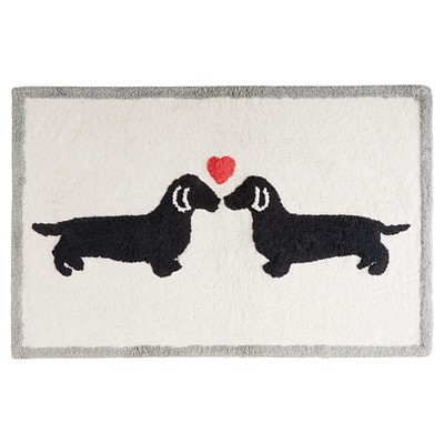 Two Dogs Heart Bath Rug (20x30 )Natural
